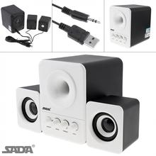 SADA D 203 Wired Mini Bass Cannon 3W PC Combination Speaker Mobile PC Speaker with 3.5mm Stereo Jack and USB 2.1 Wired Powered