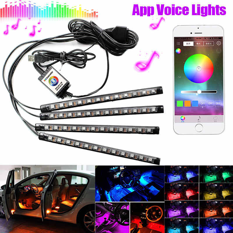Car LED Strip Lights USB RGB Automobile Styling Atmosphere Lamps Flexible 4 Pcs Strips Car Interior Decoration Lights CSL2017