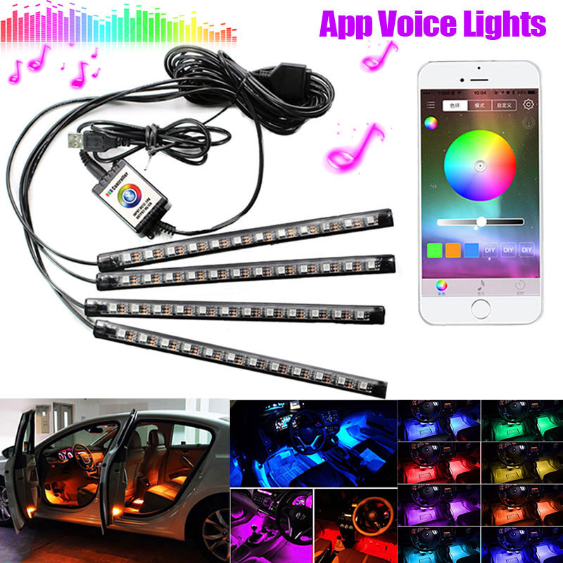 Car LED Strip Lights USB RGB Automobile Styling Atmosphere Lamps Flexible 4 Pcs Strips Car Interior Decoration Lights CSL2017 rhinestone flower printing pu leather flip open case for samsung s4 mini white purple pink