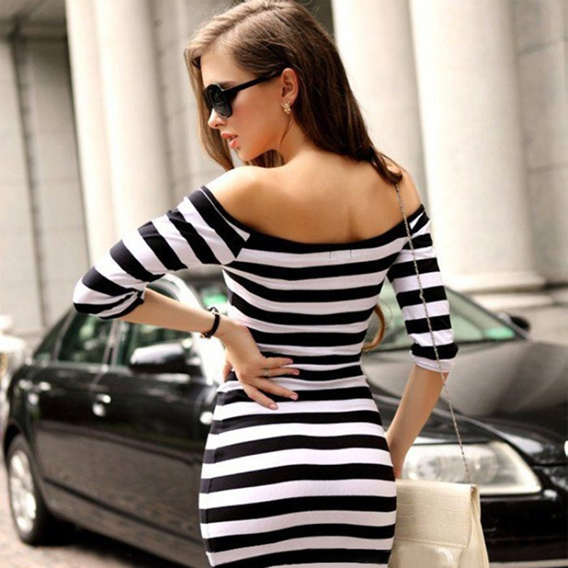 2017 Special Offer Knee length Slash Neck Dress Women Aliexpress Ebay And Amazon  Hot Sexy Slim Stripe Collar Package Hip Dress -in Dresses from Women s ... a32312f1859b