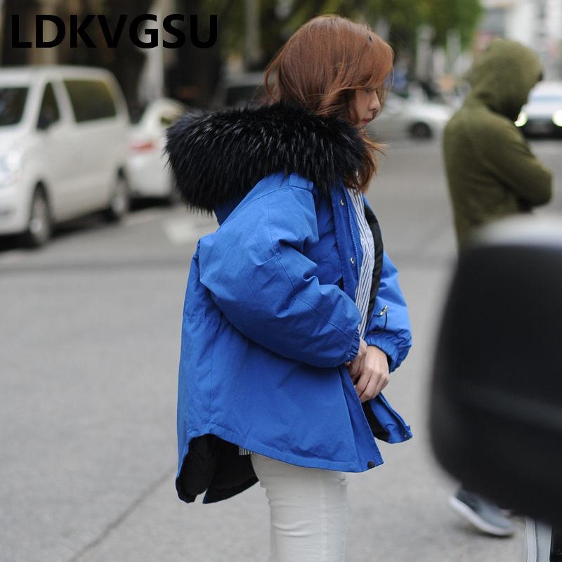 Capuchon Parkas Black Outwear Femmes 2018 blue Manteau À Section D'hiver Nouveau Is1271 Veste Chaud Courte De Manteaux Green Rembourré Grand Fourrure Casual Col army qR4z56Rw