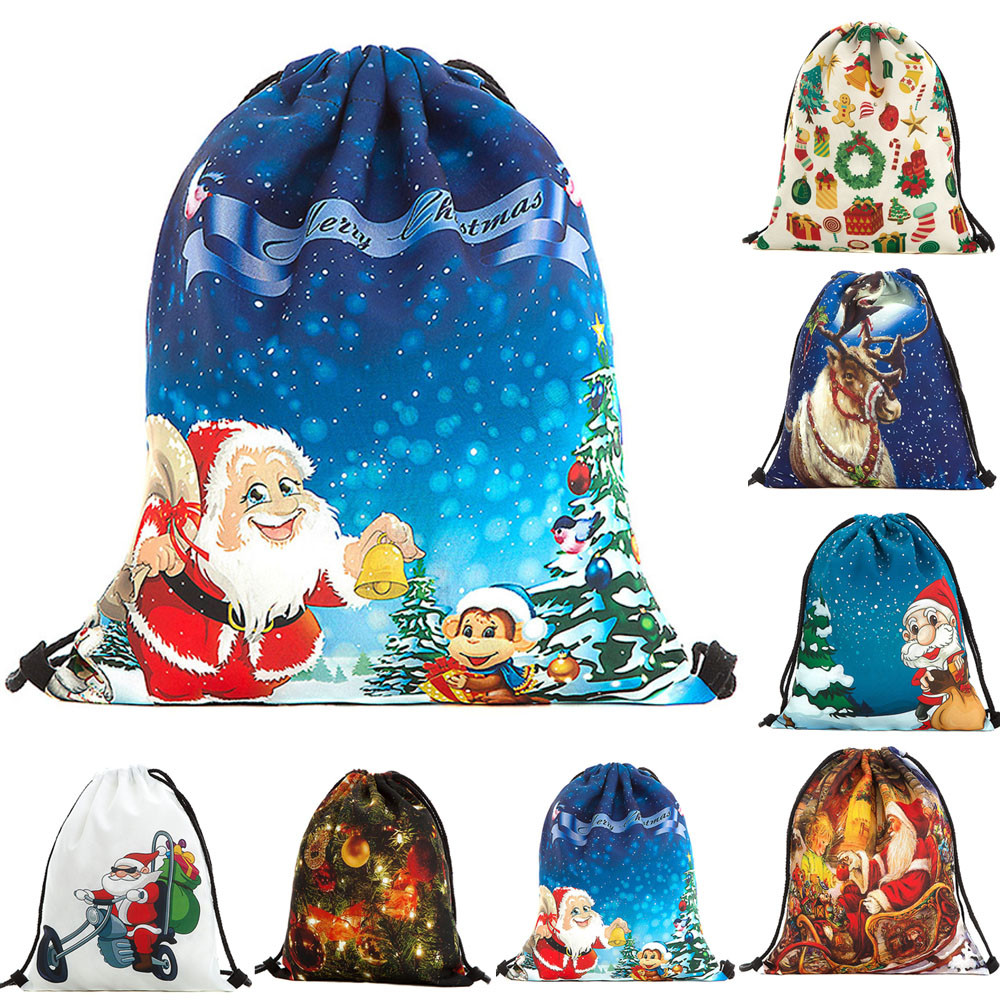 Sleeper #4001 Christmas Candy Gift Bag Bundle Pocket Santa Claus Snowman Printed Bags Backpack Drawstring Bag
