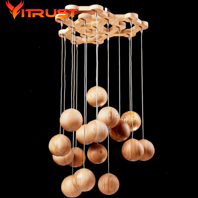 Creative wooden chandelier Nordic pendant lamp wood fashion wooden chandelier for dining room simple wooden lamp in Pendant Lights from Lights Lighting