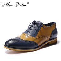 Mona Flying Women S Leather Perforated Lace Up Oxfords Shoes For Women Wingtip Multicolor Brougue For