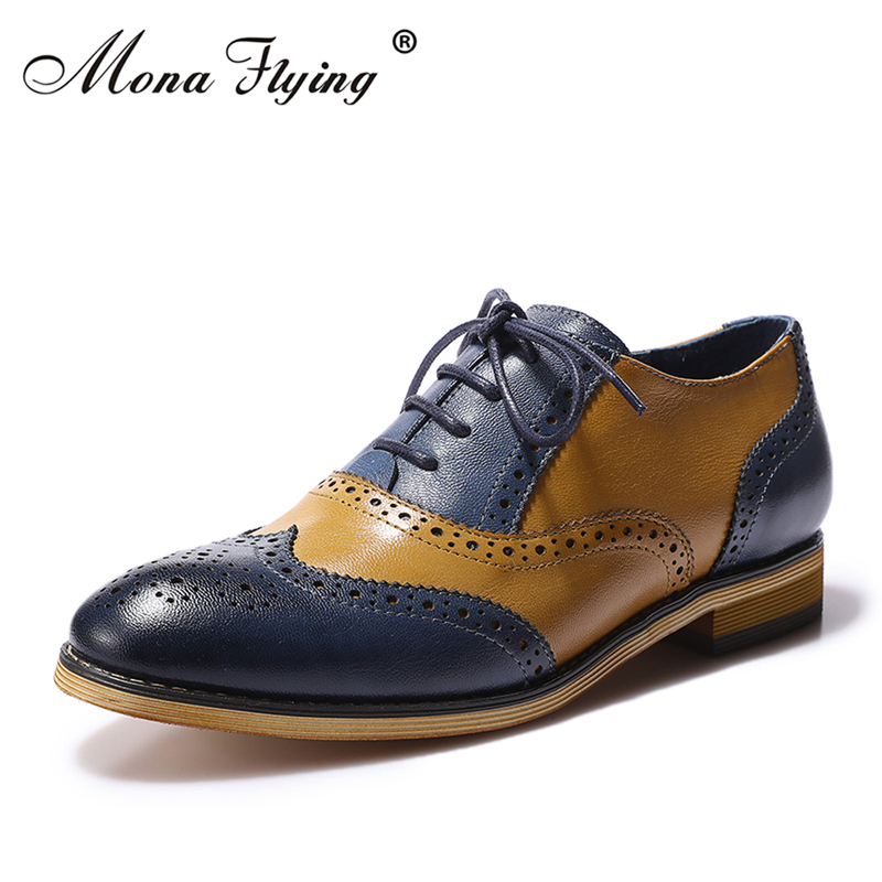 8edd7b21c6 Mona Flying Women's Leather Perforated Lace-up Oxfords Shoes For Women  Wingtip Multicolor Brougue for Women Handmade Shoes B098