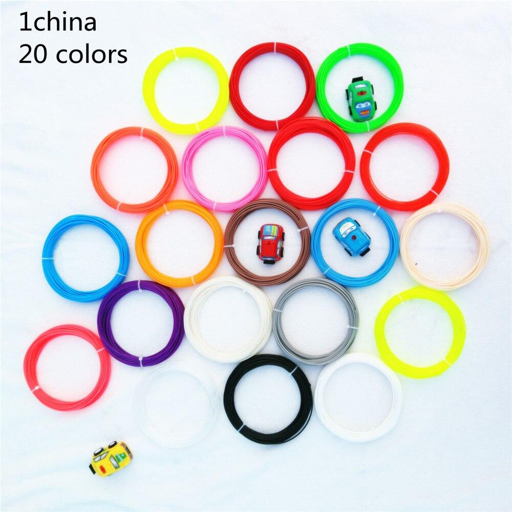 1china 20pcs PLA ABS 3D Print Filament 1 75mm 10M Different Colors total 200M Materials For