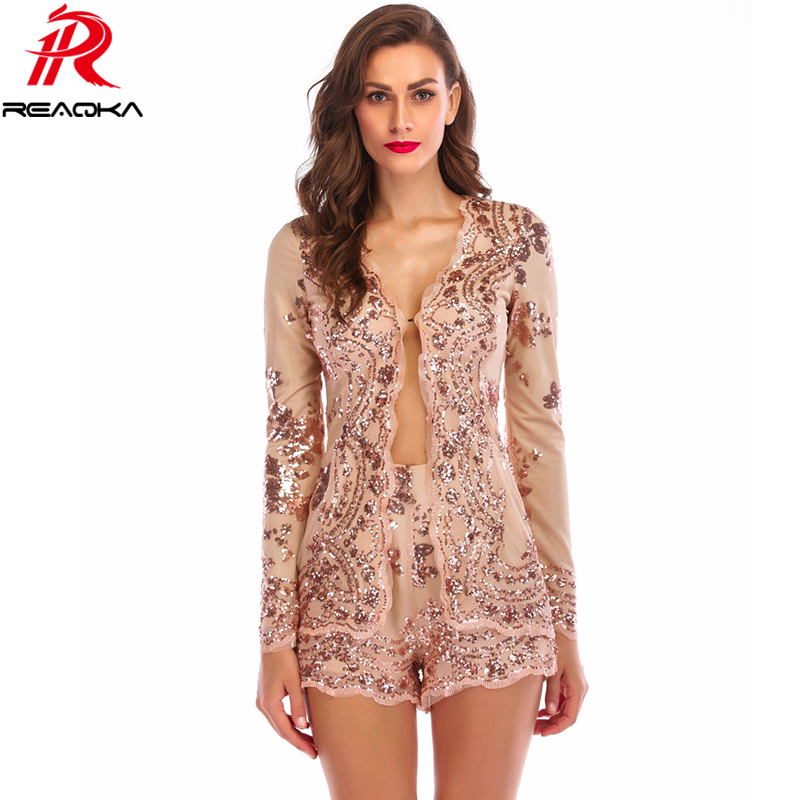 Sparkling sexy Sequins jumpsuit romper gold elegant two piece bodysuit women playsuit Long sleeve Nightclub queen short overalls
