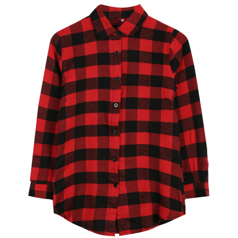 2016 women fashion spring autumn long sleeve shirt plaid Womens red tartan plaid shirt