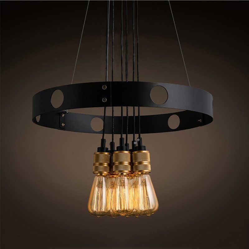 Творческий 6 головок E27 люстра Лофт железная люстра с кругами ресторана бара гостиной, столовой кафе подвесной светильник на гибкой подвеске