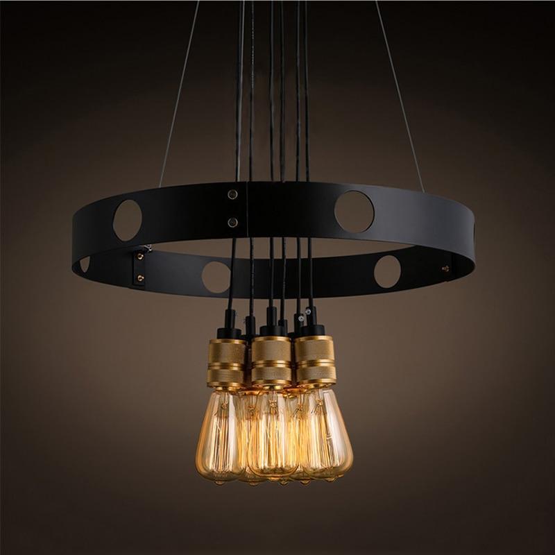 где купить Creative 6 heads E27 chandelier loft iron circle light restaurant bar living room dining room cafe pendant lamp droplight по лучшей цене