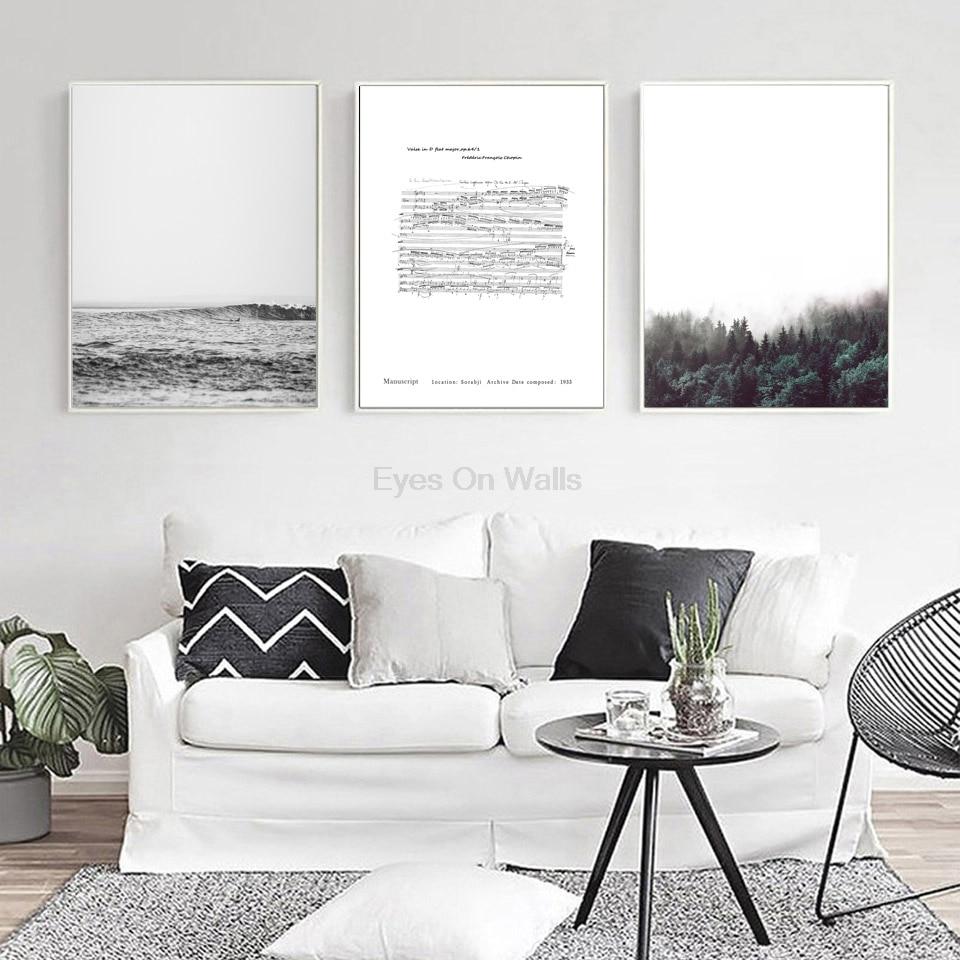 1 Panel No Frame Fish Migration Canvas Painting Black White Print ...