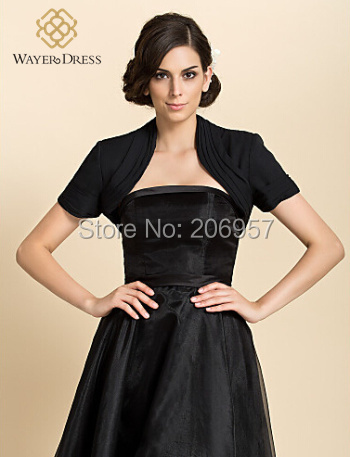 Black Short Sleeve Boleros Jacket Accessories Evening Dress Bolero ...