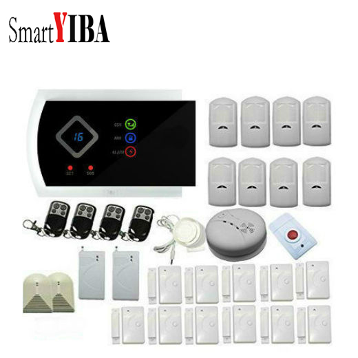 SmartYIBA Home Alarm System PIR Motion Sensonr Shock Sensor Alarmes Fire/Smoke Detector Glass Break GSM Alarm Kits