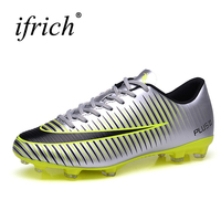 Ifrich Mens Kids Football Athletics Spikes Shoes Soccer Cleats Leather Outdoor Soccer Boots Green Silver Cheap