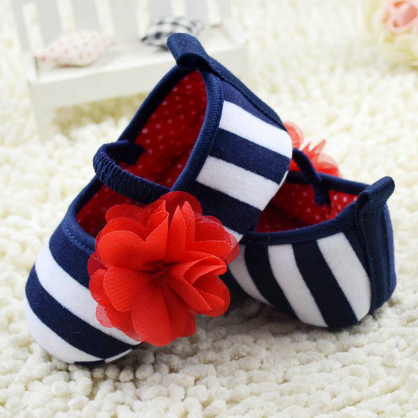 New Kid Girls Spring Fashion Cute Toddler Stripe Flower Crib Shoes Soft Sole Baby Shoes Prewalker P1