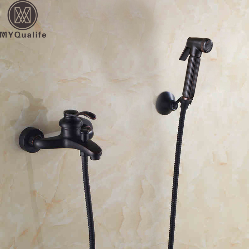 Wall Mounted Handheld Bathroom Shower Faucet Black Bidet Sprayer Head with Wall Bracket Hot and Cold Water