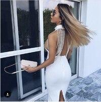 Top Quality White Black Khaki Backless Mantual Beading Knee Length Rayon Bandage Dress Party Bodycon Dress