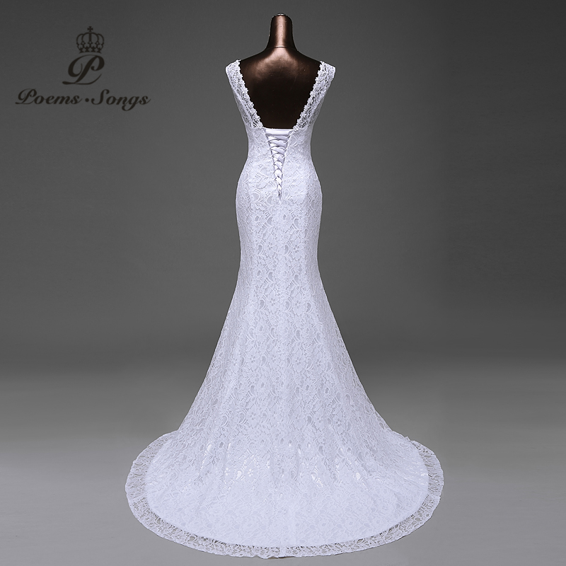 Image 5 - Free shipping  lustrous satin and lace flowers  very Sexy  Backless mermaid  Wedding Dresses vestidos de noiva robe de mariage-in Wedding Dresses from Weddings & Events