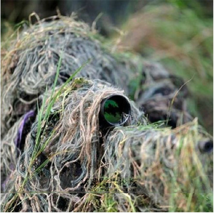 Ghillie Suit War Game Outdoor Rifle Hunting 1.2m/48 Inch Elastic Synthetic Thread Colors Mixed Camo Woodland Ghillie Rope