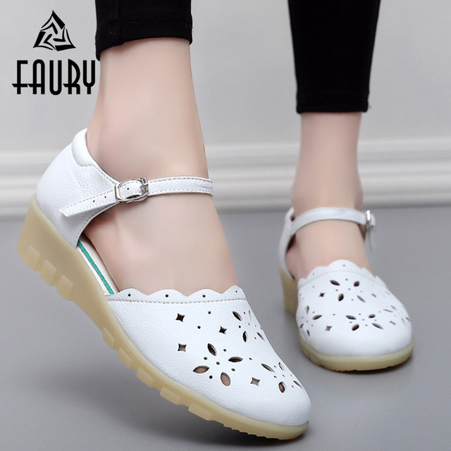7e6fc04b5d29 White Soft Nurse Hospital Medical Durgshop Work Shoes Summer Hollow  Breathable Wedge Shoes Doctor Surgical Non-slip Sandals