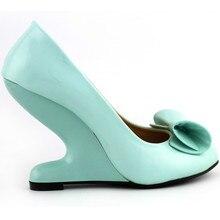 LF30204ใหม่กรวยโค้งสูงส้นน้อยลิ่มรองเท้าสโมสรสีฟ้า/สีม่วง