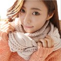 2016 Winter Solid Thick Knitted Ring Scarf Wool Collar Neck Warm Scarves For Women Circle Wool Blend Long Scarves