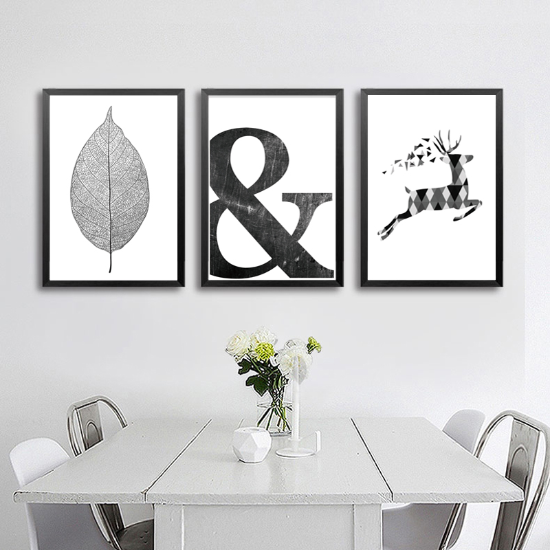 Abstrato-Minimalista-Escandinavo-N-rdico-S-mbolo-Pintura-Da-Lona-Preto-Branco-Cartaz-da-Parede-Retrato (3)