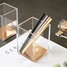 Organizador de mesa de luxo, transparente, de acrílico, caneta lápis, recipiente, caneta de ouro, suporte para papelaria, caneta de envio
