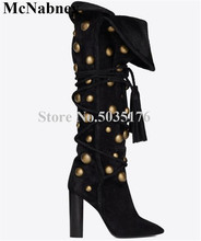 McNabney Women Boots Lace-Up Fringe Rivet Pointed Toe High Hoof Heel Cross-tied Mid-Calf Long Boots Spring/Autumn Women Shoes new women fashion mid calf boots for spring autumn pointed toe high heel cross tied black solid shoes lady lace up thin heels