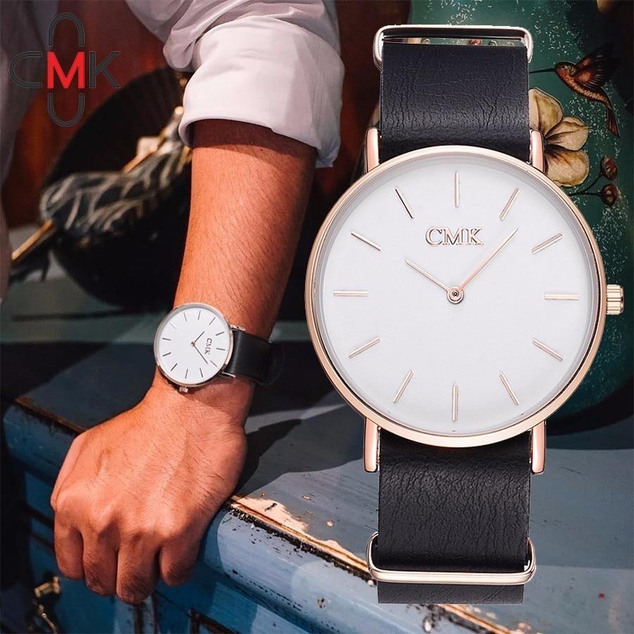CMK Brand Ultra thin Quartz font b Watch b font Leather Men Clock Fashion Casual font