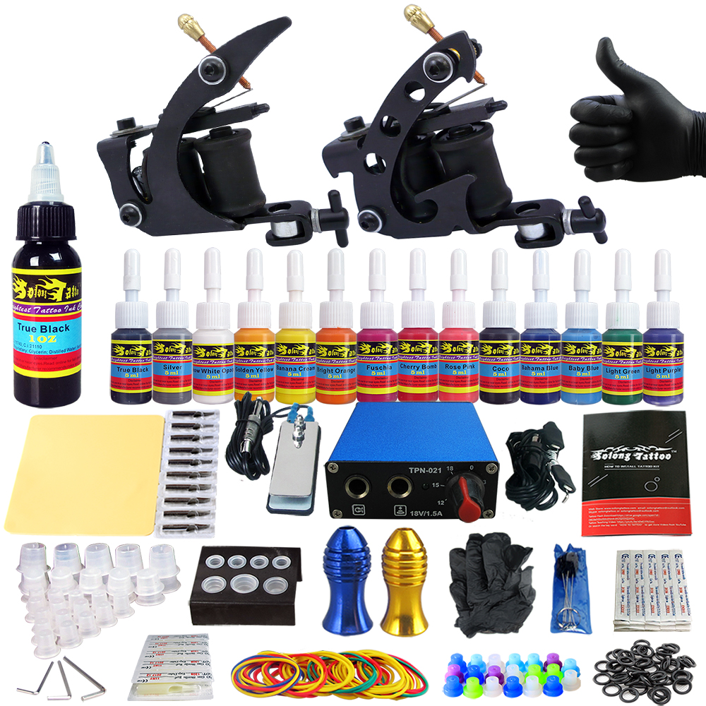 купить Solong tattoo Complete Tattoo Kits 2 Machine Gun Beginner Tattoo Set 14 Inks Needle Grips foot peatal power supply TK203-1 по цене 1678.86 рублей