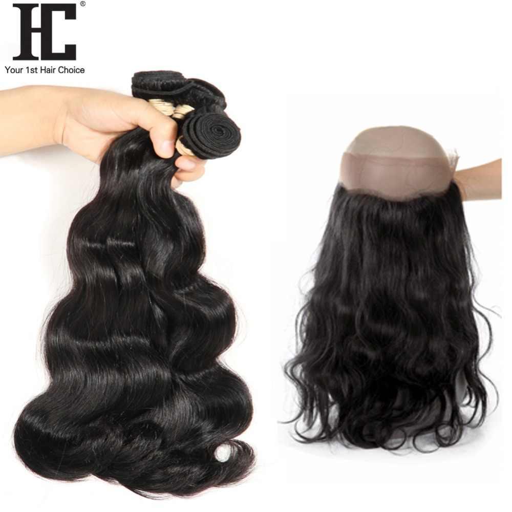 HC Braziliaanse Body Wave Bundels Met 360 Frontale Menselijk Haar Weave Met 360 Sluiting Niet Remy Kant Frontale Sluiting Met bundels
