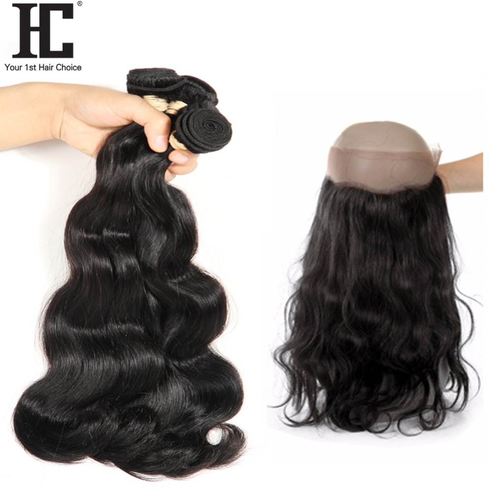 HC Brazilian Body Wave Bundles With 360 Frontal Human Hair Weave With 360 Closure Non Remy Lace Frontal Closure With Bundles