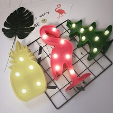 Nice LED Night Light Desk Lamp Pineapple/Flamingo/Cactus Modeling Table Night Lights Home Office Decoration Gifts(China)