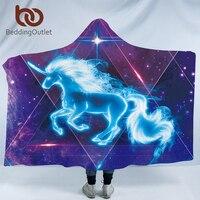 BeddingOutlet 3d Unicorno Con Cappuccio Coperta Galaxy Stelle Indossabile Coperta per Adulti Universo Blu Sherpa Coperta In Pile 127x152 cm|Coperte|   -