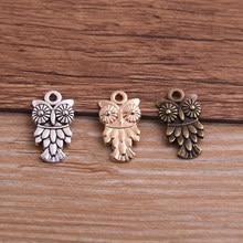 Lot de 30 breloques en forme d'animal, hibou, pendentif, trois couleurs, bricolage, bijoux rétro, Bracelet, collier, 11x20mm