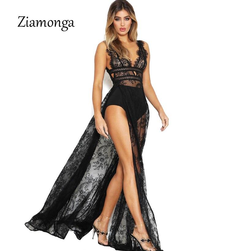 Ziamonga Women Sexy Lace Dress High Split Floor Length Long Maxi Dresses  Summer Sleeveless Hollow Out 34f486b5d7d2