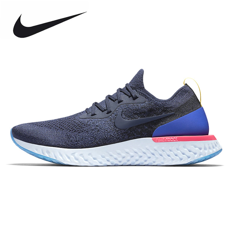 Nike Epic реагировать Flyknit Для мужчин кроссовки, Белый/темно-синий, нескользящая дышащая пот-абсорбент AQ0067 400 AQ0067 101