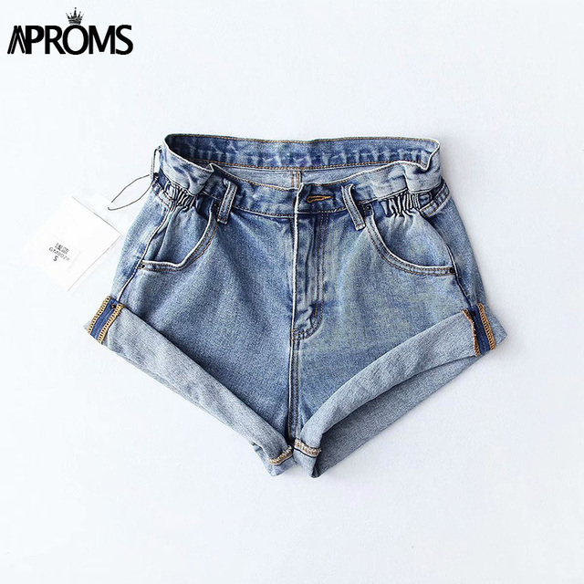 Aproms Casual Blue Denim Shorts Women Sexy High Waist Buttons Pockets Slim Fit Shorts 2019 Summer Beach Streetwear Jeans Shorts 3