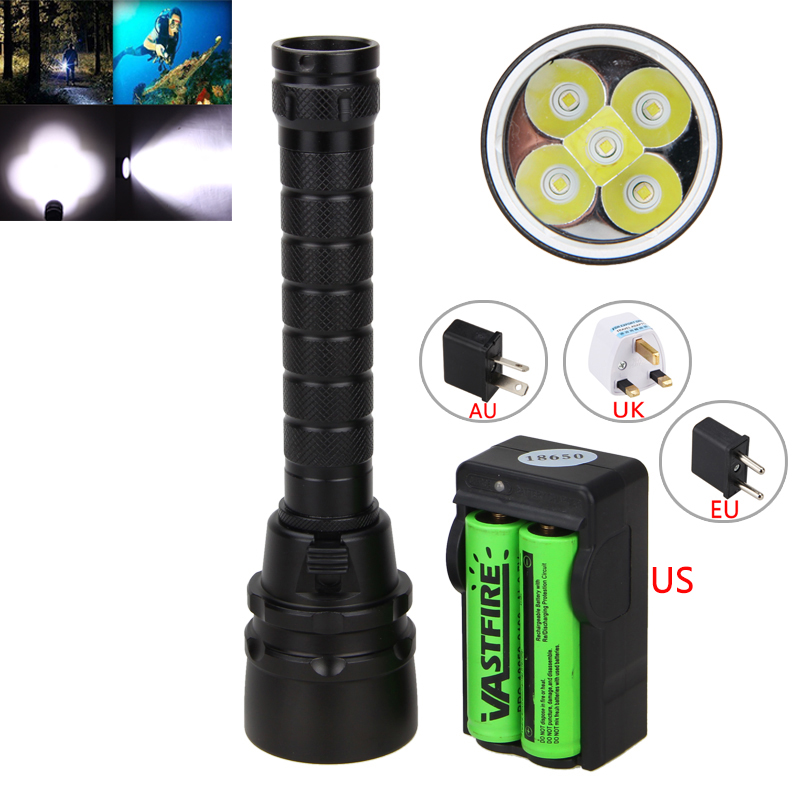 For Hunting Seeking Survival Underwarter 100m 5000Lm XM-L T6 LED Scuba Diving Flashlight Torch lamp +2*18650 Battery+ Charger