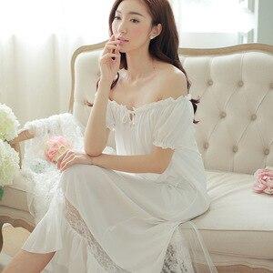 Image 4 - קיץ נשים כותנות לילה לבן כותנה קצר שרוול כותונת בציר ארוך הלבשת תחרה סקסית Nightwear בית לילה שמלת 2020