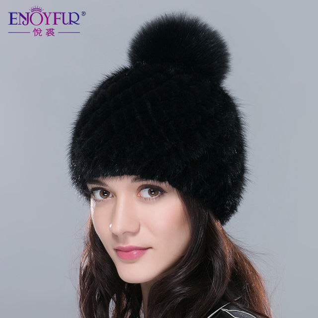 ENJOYFUR real mink fur hats for women winter knitted mink fur cap with fox fur pom poms 2016 hot sale brand new warm female hat