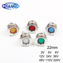LED Metal Indicator light 22mm concave round Signal lamp LIGHT 3V 5V 6V 12V 24V 36V 110v 220v screw red yellow blue white Green