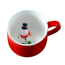 400ML Ceramics Coffee Cup 3D Cute Cartoon Three-Dimensional Animal Mug Christmas Couple Lovely Cup With Lid (Snowman)(China)