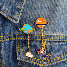 Moon and rabbit,Planet and astronaut tassel pins Hard enamel lapel pins Badges Brooches Space jewelry Jacket Accessories(China)