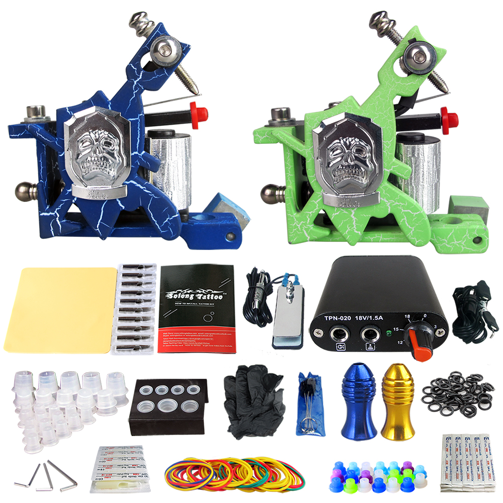 Professional Tattoo Kit 2 Tattoo Machines with Machines Set Black Power Supply Needle Grips Tips love machines 2018 12 08t19 00