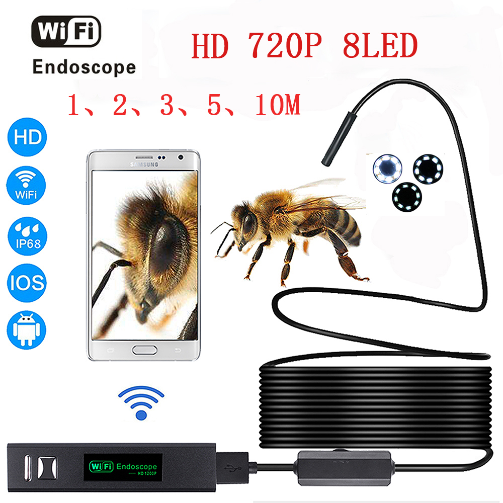 HD 1200P Wifi Endoscope Camera with Android and IOS Endoscopio 8 LED 8mm Waterproof Inspection Borescope Tube Camera 1-10M Cable 2m hd 1200p wireless wifi endoscope mini waterproof semi rigid inspection camera 8mm lens 8led borescope for ios and android pc