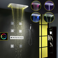 Thermostatic Shower Faucet Set Modern Luxury European Style Large Touch Panel LED Shower Head Waterfall Rainfall