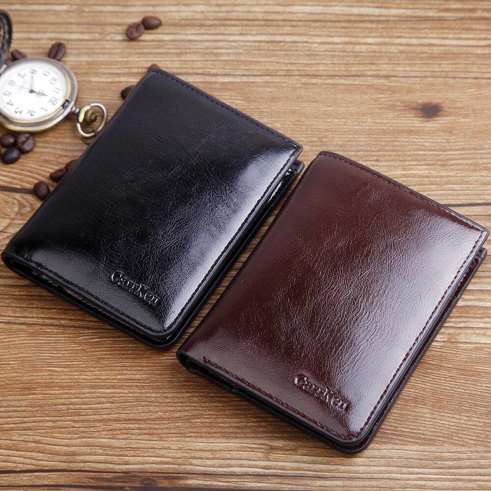 New Oil Wax Leather men Wallet Fashion Short Bifold wallet Casual Soild Men purse With Coin Pocket Male zipper Wallet