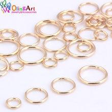 Olingart anel pulso de ouro kc, tamanho misto, 6mm/9mm/10mm/12mm conector de fio de diâmetro 1.0mm para faça você mesmo